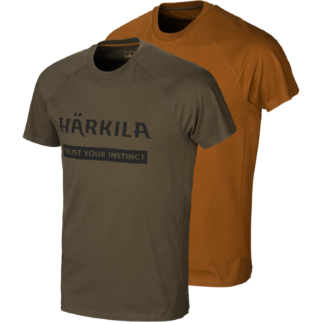 Harkila logo T-shirts Willow green/Rustique clay