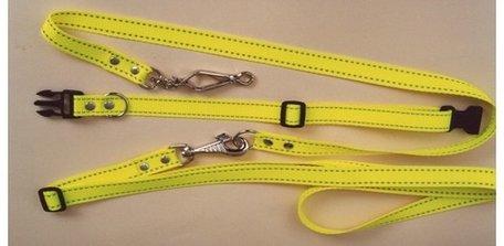 Hondenriem geel met halsband