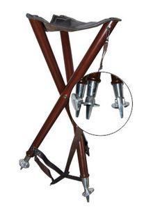 houten 3-poot met ledere zitting