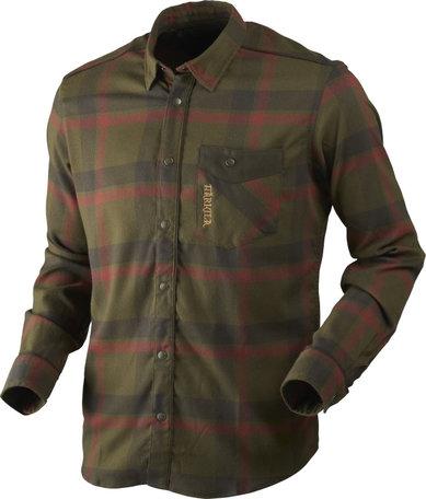 Harkila Angot L/S overhemd, Willow green/Shadow brown