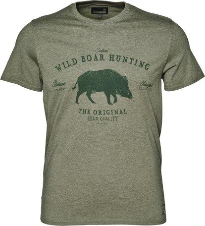 Seeland Aiden printed T-shirt, Duffel green melange